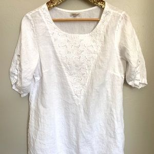 4698889ecf8ac7 Lina Tomei 100% Linen Italy White blouse top L